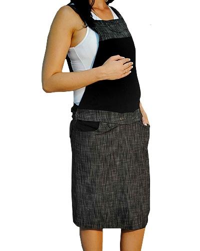 Be MaaMaa Těhotenské šaty/sukně s láclem - černý melírek, vel. M