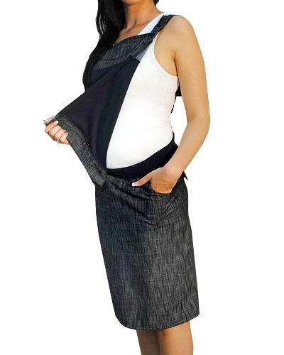 Be MaaMaa Těhotenské šaty/sukně s láclem - černý melírek, vel. L
