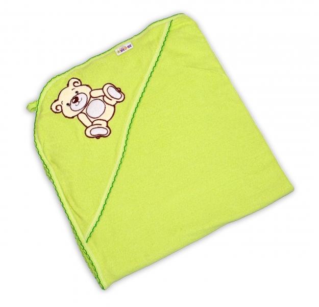 Dětská osuška TEDDY BEAR Baby Nellys s kapucí - zelená