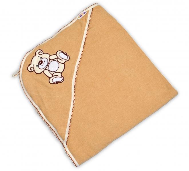 Baby Nellys Dětská osuška Teddy Bear s kapucí, roz. 80 x 80 cm - hnědá