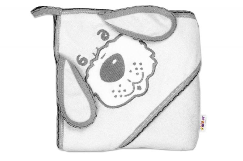 Baby Nellys Dětská osuška 80 x 80cm Pejsek s kapucí - bílá