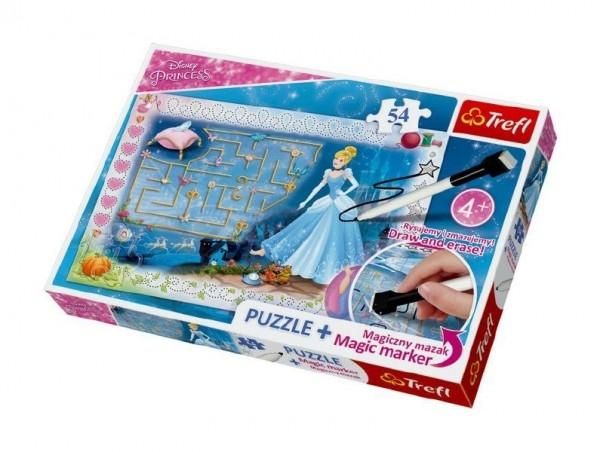 Puzzle + magický fix Princezny - hledání střevíčku/Disney  54 dílků v krabici 33x23x4