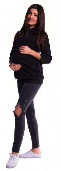 Těhotenské a kojící teplákové triko - černé