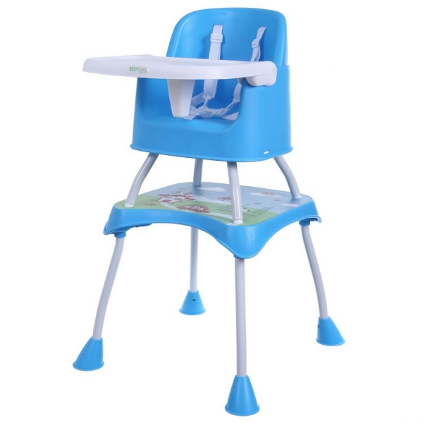 Jídelní stoleček ECO TOYS 2v1 PANDA - modrý