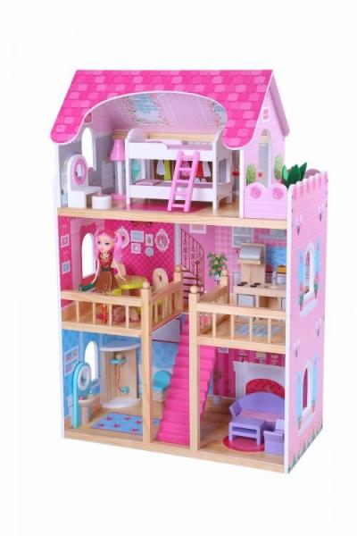 Dřevěný domek pro panenky ECO TOYS - malinová rezidence