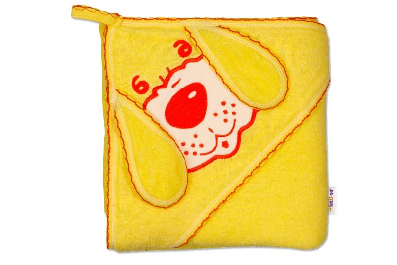 Baby Nellys Dětská osuška 80 x 80cm Pejsek s kapucí - krémová