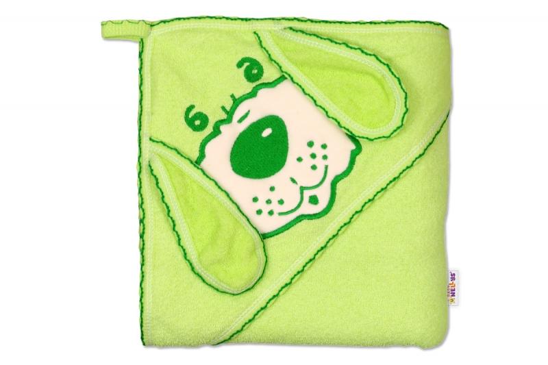 Dětská osuška 80 x 80cm Pejsek s kapucí - zelená