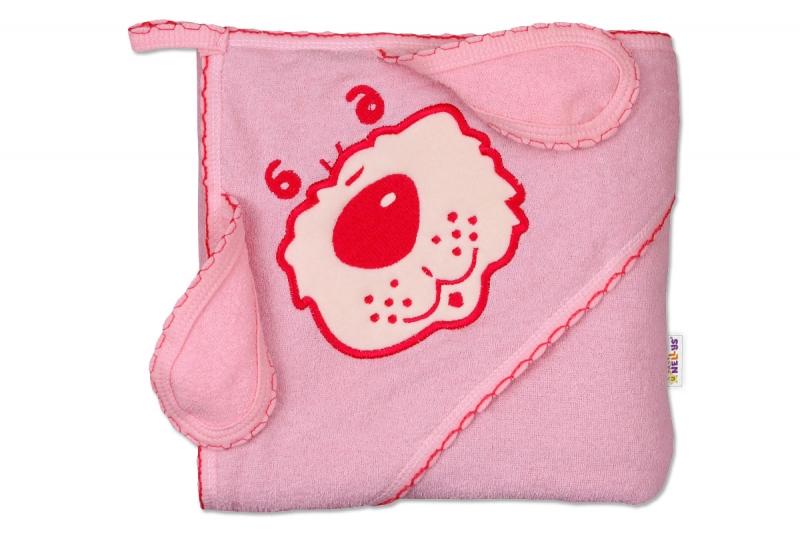 Dětská osuška 80 x 80cm Pejsek s kapucí - růžová
