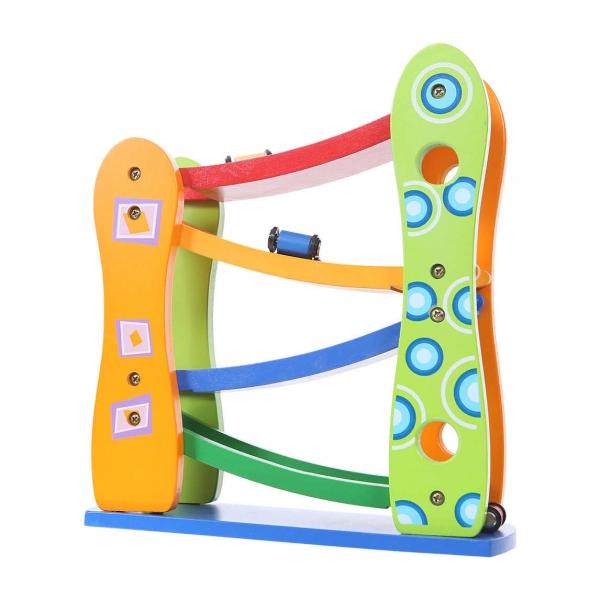 Eco toys Dřevěná závodní dráha s autíčky