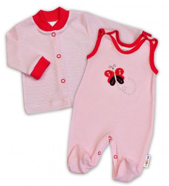 2-dílná kojenecká souprava Baby Nellys ® - Motýlek - proužky malinové