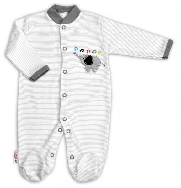 Bavlněný overálek Baby Nellys ® - Sloník - proužky šedé