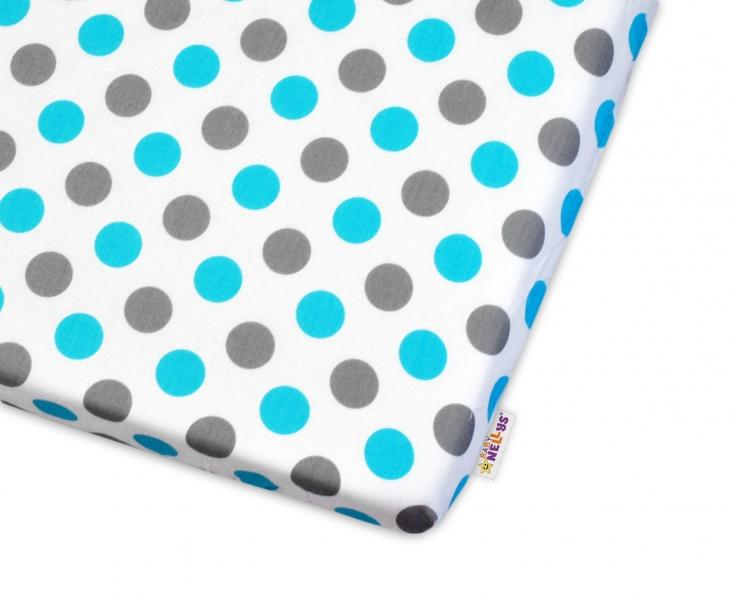 Bavlněné prostěradlo  Baby Nellys ® Puntíky Baby - modré