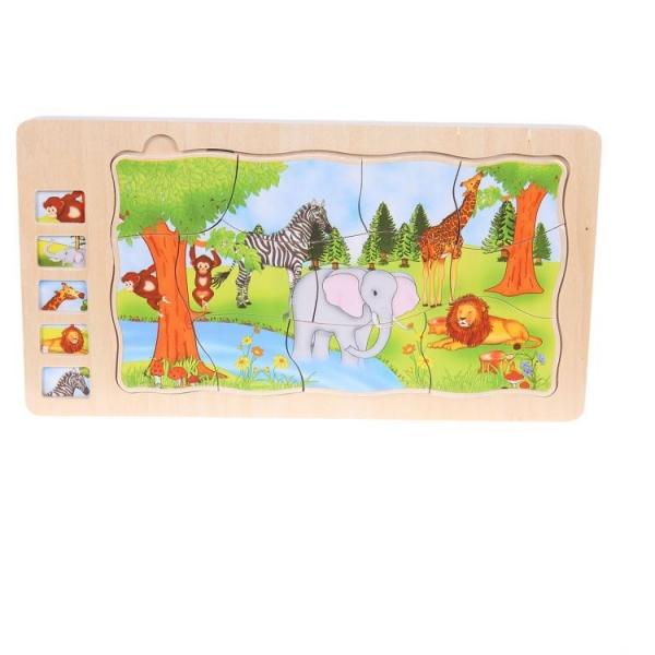 Dřevěné puzzle, vkládačka ECO TOYS  5 vrstev - Džungle