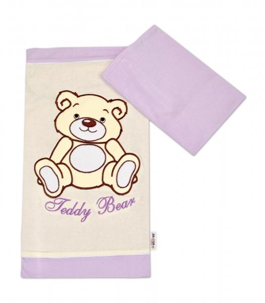 Povlečení do postýlky Teddy Bear - jersey - lila