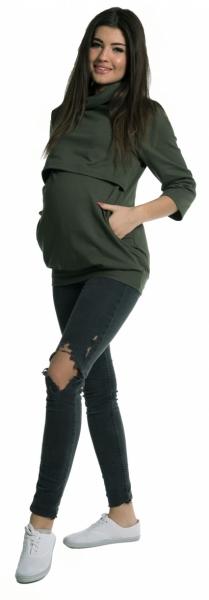 Těhotenské a kojící teplákové triko - oliva - vel. S