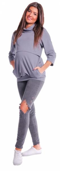 Be MaaMaa Těhotenské a kojící teplákové triko - metalická šeď, vel. XL