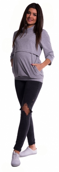 Be MaaMaa Těhotenské a kojící teplákové triko - šedý melír