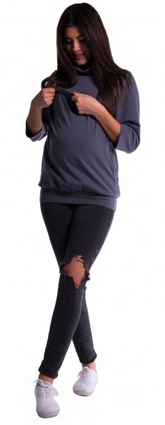 Be MaaMaa Těhotenské a kojící teplákové triko -  grafit