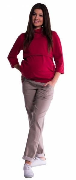 Be MaaMaa Těhotenské kalhoty letní bez břišního pásu - béžové