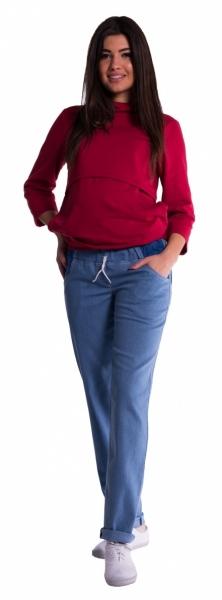 Be MaaMaa Těhotenské kalhoty letní bez břišního pásu - světlý jeans - vel. S