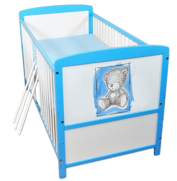 Dřevěná postýlka 2 v 1 Nellys Sweet Dreams by Teddy - modrá/bílá, Velikost: 120x60