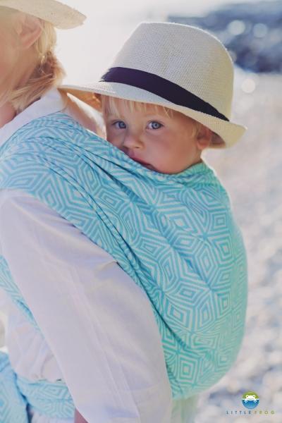 Little FROG Žakárový tkaný šátek na nošení dětí - TURQUOISE CUBE