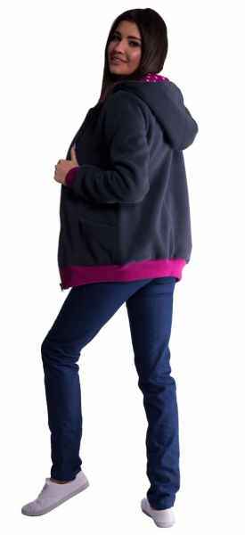 Mikina s kapucí nejen pro těhotné - grafit