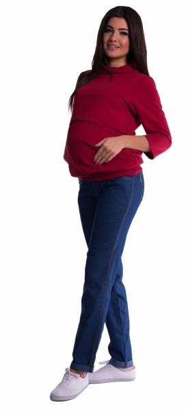 Be MaaMaa Těhotenské kalhoty letní bez břišního pásu - tmavý jeans
