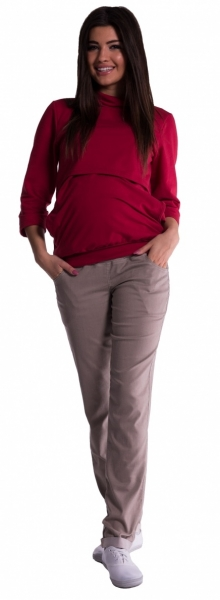 Be MaaMaa Těhotenské kalhoty - béžové vel. XLvel. XL (42)