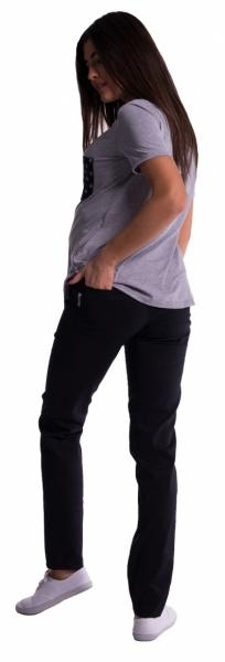 Těhotenské kalhoty s mini těhotenským pásem - černé - vel. S