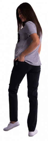 Be MaaMaa Těhotenské kalhoty s mini těhotenským pásem - černé, vel. XXL