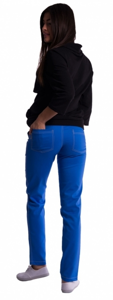Be MaaMaa Těhotenské kalhoty s mini těhotenským pásem - modré, Velikost: M (38)