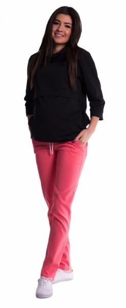Be MaaMaa Těhotenské kalhoty s mini těhotenským pásem - růžové