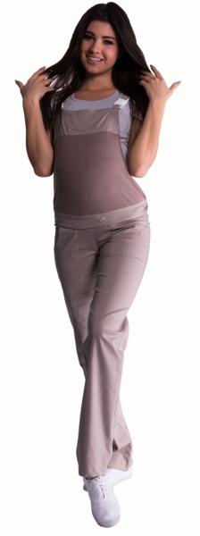 Těhotenské kalhoty s láclem - béžové - barva:  béžová, vel. M