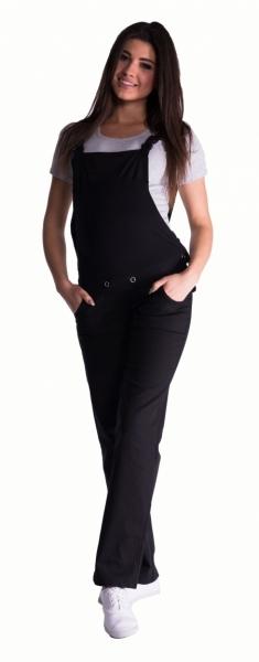 Be MaaMaa Těhotenské kalhoty s láclem - černé, Velikost: XL (42)