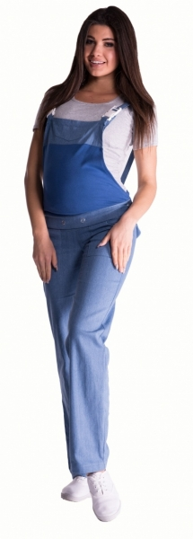 Těhotenské kalhoty s láclem - světlý jeans