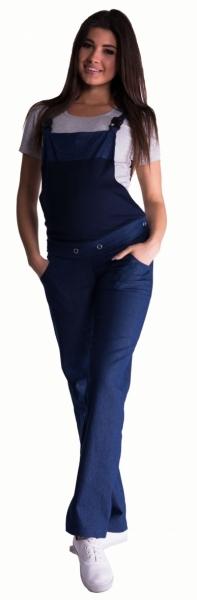 Be MaaMaa Těhotenské kalhoty s láclem - tmavý jeans