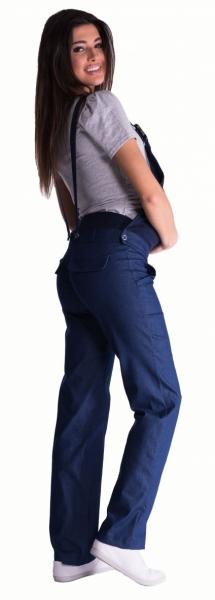 Be MaaMaa Těhotenské kalhoty s láclem - tmavý jeans, vel. L