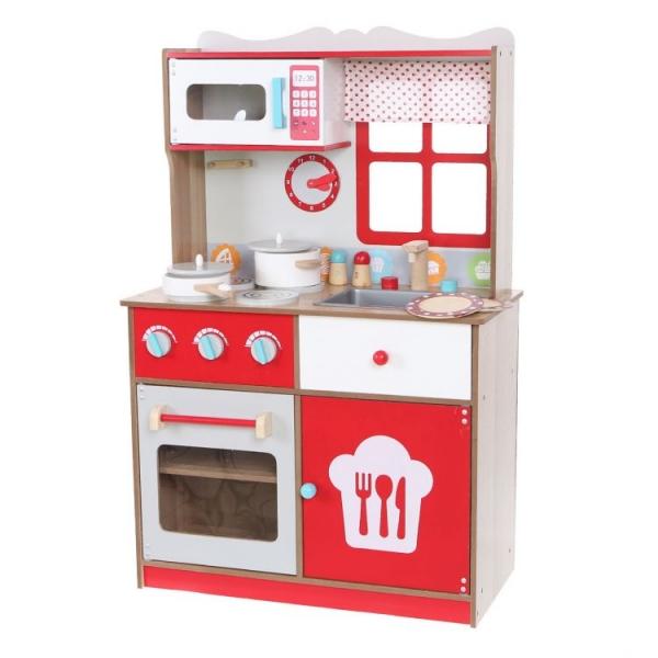 Dřevěná kuchyňka ECO TOYS s vybavením, červená - Dřevěná kuchyňka ECO TOYS s vybavením, červená
