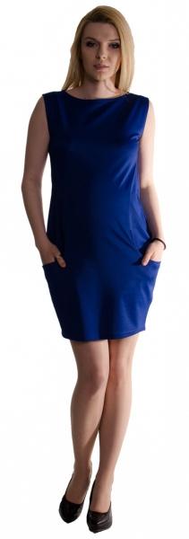Těhotenské letní šaty s kapsami - tmavě modré