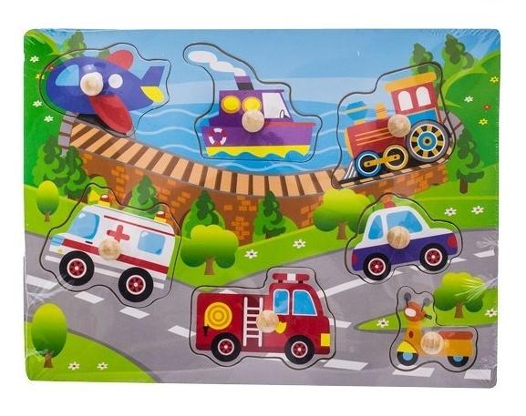 Dřevěné zábavné puzzle vkládací Euro Baby - transport