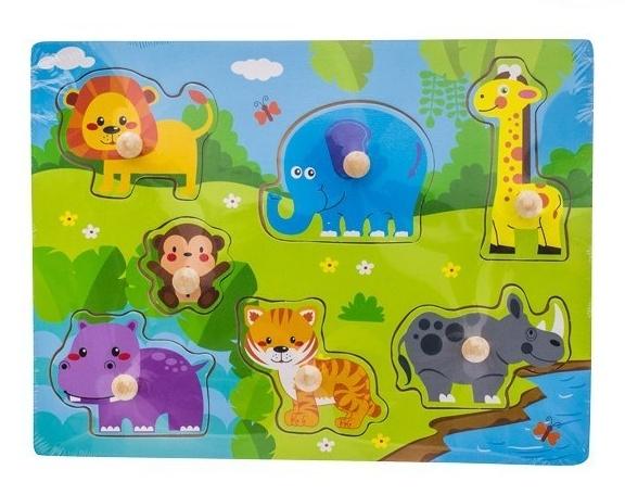 Dřevěné zábavné puzzle vkládací Euro Baby - Safari