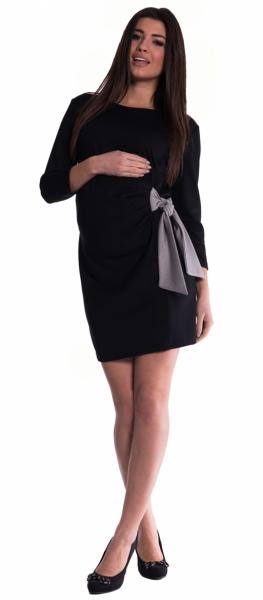 Těhotenské šaty s mašlí - černé