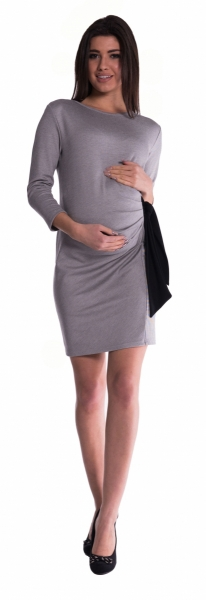 Be MaaMaa Těhotenské šaty s mašlí - šedé