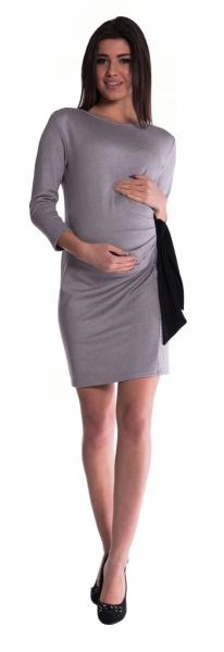 Be MaaMaa Těhotenské šaty s mašlí - šedé - vel. S