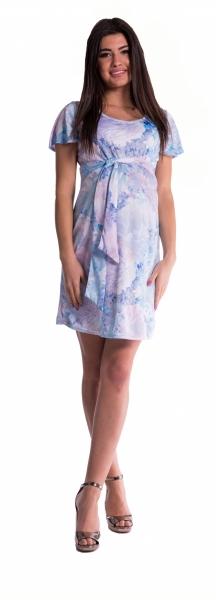 Těhotenské šaty s květinovým potiskem s mašlí  - blankyt - vel. S