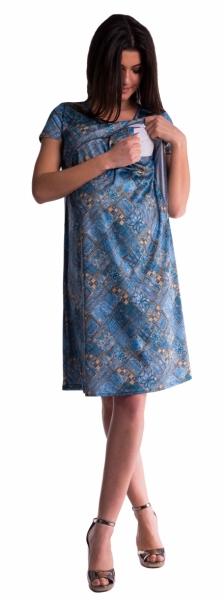Be MaaMaa Těhotenské a kojící šaty s květinovým potiskem - tm. modré