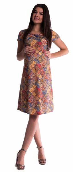 Be MaaMaa Těhotenské a kojící šaty s květinovým potiskem - cihlové