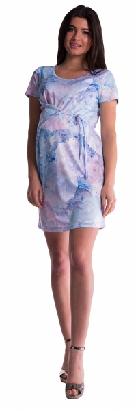 Be MaaMaa Těhotenské šaty s vázáním s květinovým potiskem - blankyt - vel. S