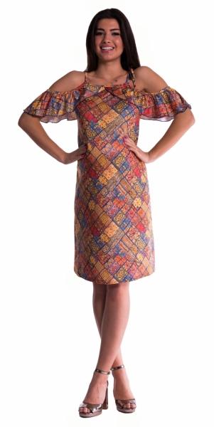 Be MaaMaa Těhotenské šaty s volánkovými rukávy - cihlové - vel. S